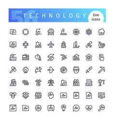 technology line icons set vector image