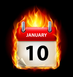 tenth january in calendar burning icon on black vector image