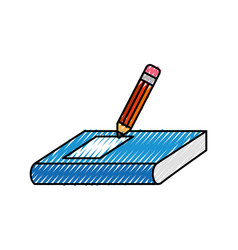 Text book with pencil vector