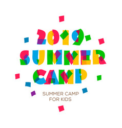 Themed summer camp 2019 poster in flat style vector