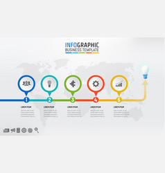 timeline infographics template design with 5 vector image
