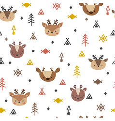 Tribal seamless pattern with cartoon deers vector