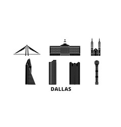 United states dallas flat travel skyline set vector