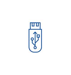 usb flash memory card line icon concept usb vector image