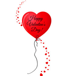 valentines red heart shaped balloon with confetti vector image