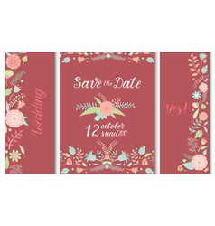 Wedding invitation card save the date suite vector