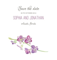 Wedding invitation watercolor with orchid flowers vector image