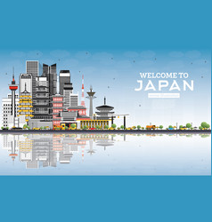 Welcome to japan skyline with gray buildings blue vector