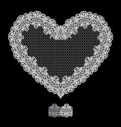 White heart shape is made of lace doily isolated vector
