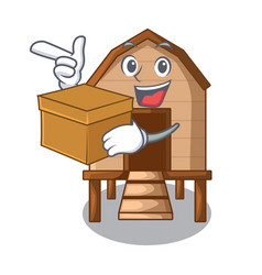 With box chiken coop isolated on a mascot vector