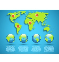 World map with globe infographic template vector image