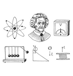 atom and voltmeter with perpetual motion circuit vector image