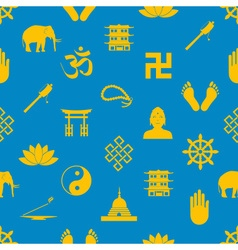 buddhism religions symbols icons seamless pattern vector image vector image
