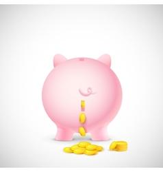 Coin falling from piggy bank vector