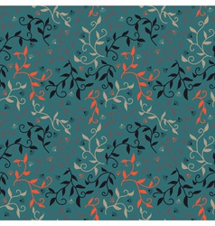 Decorative seamless pattern with leaves and small vector image