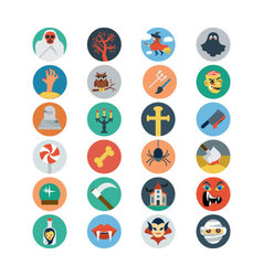 Flat halloween icons 2 vector