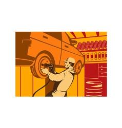 Mechanic automotive repairman retro vector