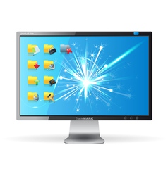 monitor with folders vector image