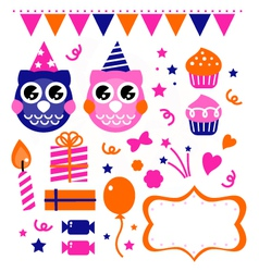 Owl birthday party design elements vector image