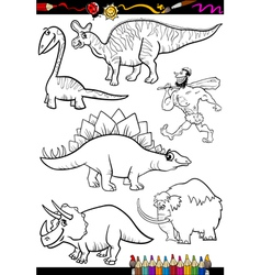 prehistoric set for coloring book vector image vector image
