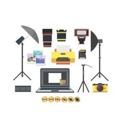 Professional Photographer Equipment Set vector image