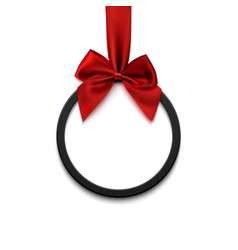 black round banner with red ribbon and bow on vector image vector image
