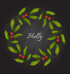christmas holly tree wreath vector image