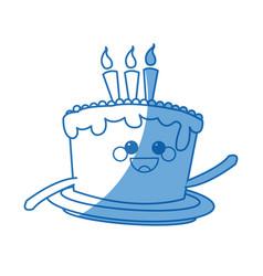 kawaii cake candle sweet bakery happy vector image vector image