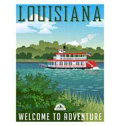 louisiana travel poster or sticker vector image