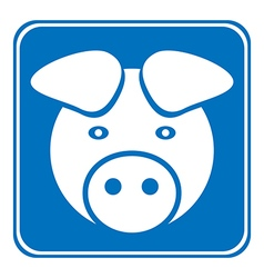 Pig symbol button vector image