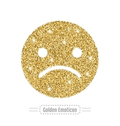 Sad emoticon without smile icon golden glitter vector image