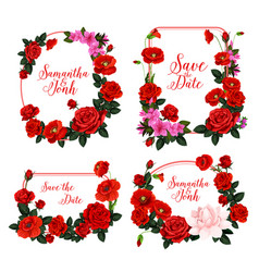wedding invitation design with frame of red flower vector image