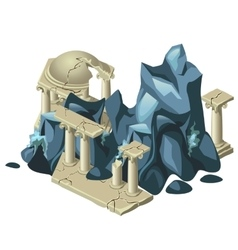 Wreckage of the Greek structure and rock formation vector image