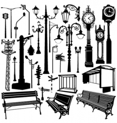 city objects traced vector image