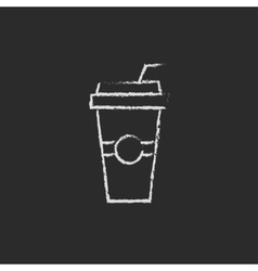 Disposable cup with drinking straw icon drawn in vector image