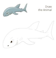 Draw the fish animal shark educational game vector