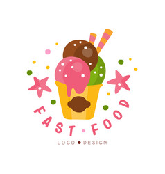 fast food logo design badge with ice cream sign vector image vector image