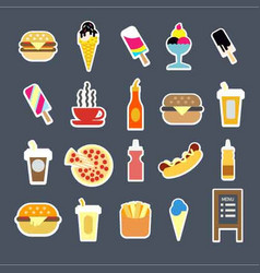 fast food menu burgers drinks or desserts vector image