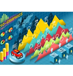 Isometric Infographic Histogram Set Elements with vector image vector image