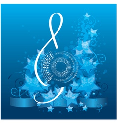 Music background with decorative treble clef vector