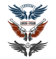 revolvers with wings emblem set vector image