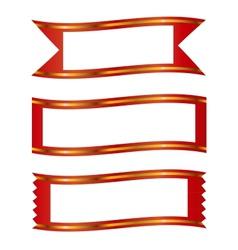 ribbons with gold stripe banner frame set vector image vector image