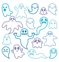 Scary ghosts design halloween characters icons vector