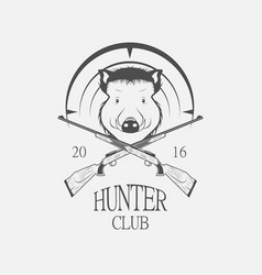 weapons and a boar hunting label vector image vector image