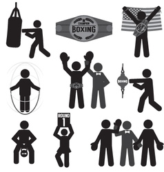 Black Symbol Boxing Icon Set vector image vector image
