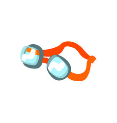 cartoon swimming goggles with orange clasp vector image vector image