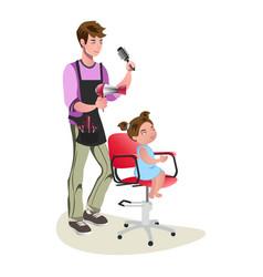 children teenager hairdresser character cute vector image