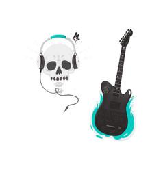 flat black electric guitar skull headphones vector image