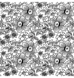 many flowers BW seamless vector image vector image