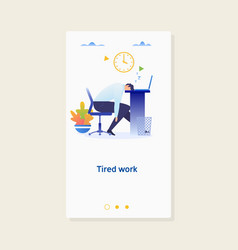 tired sleeping businessman at workflat design vector image